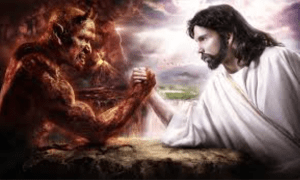 Jesus-arm-wrestling devil